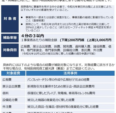 長野県地域企業再建支援事業費補助金の交付申請が4月1日から開始されます